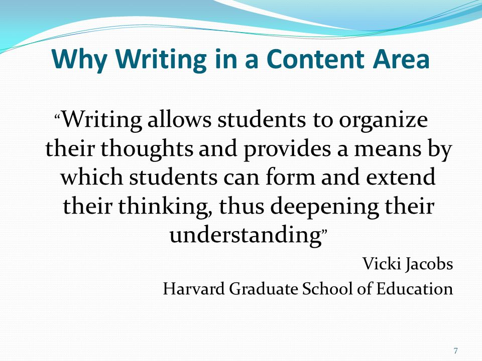 Why Writing in a Content Area