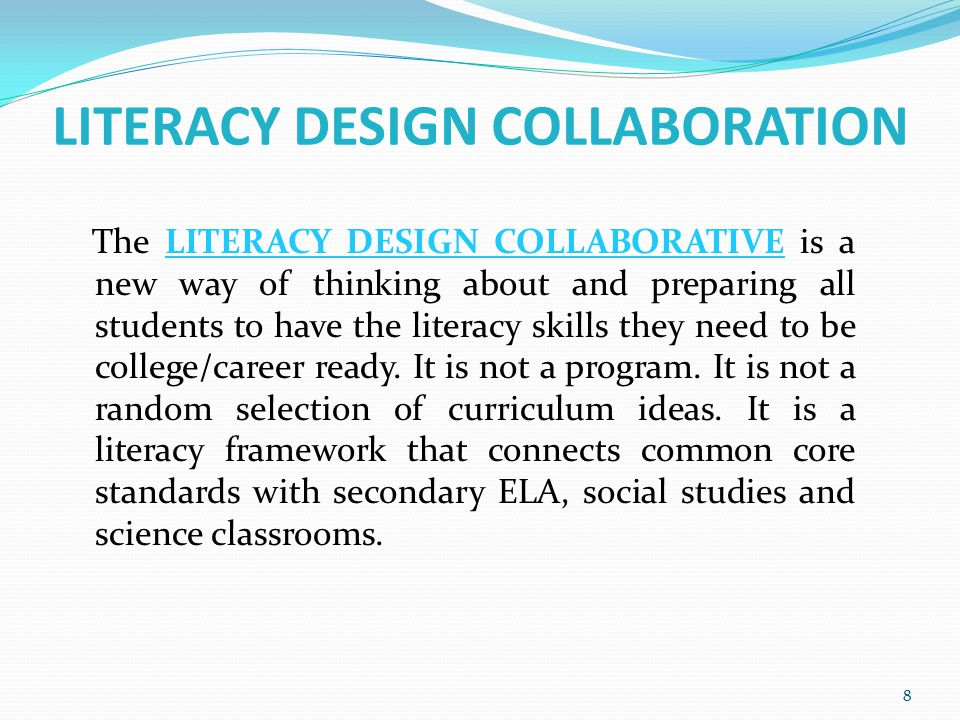 LITERACY DESIGN COLLABORATION