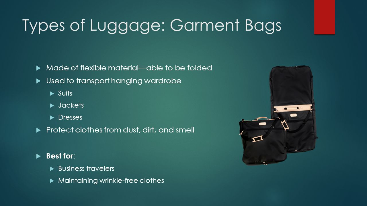 Types of Luggage: Garment Bags