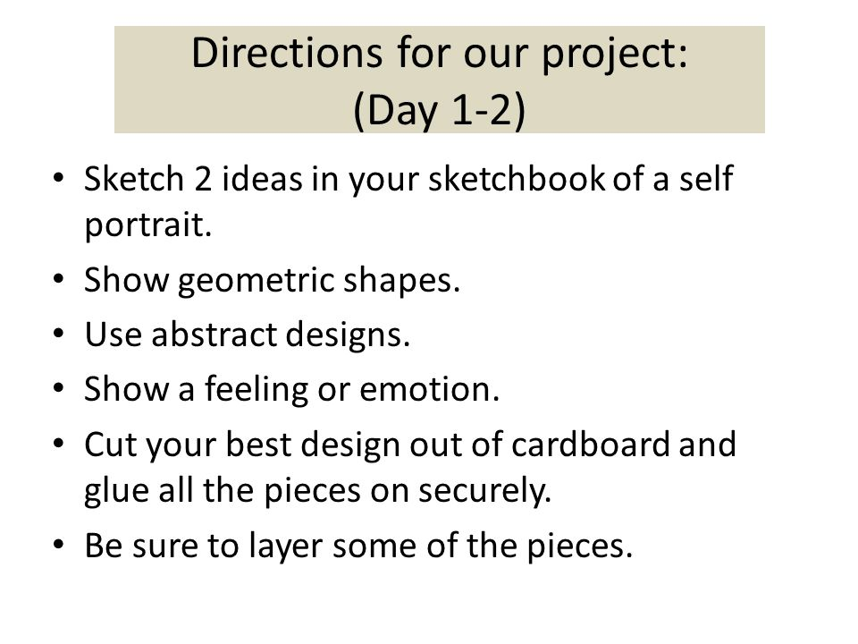 Directions for our project: (Day 1-2)