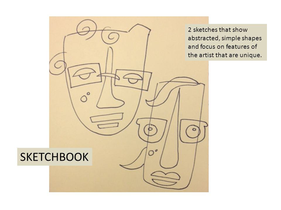 2 sketches that show abstracted, simple shapes and focus on features of the artist that are unique.