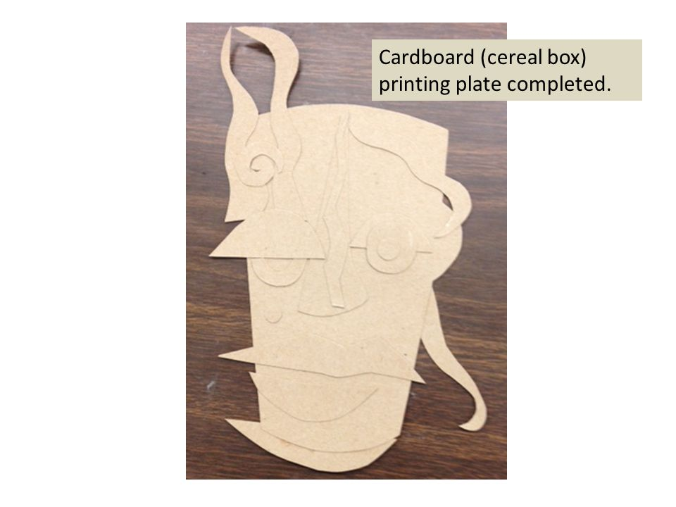Cardboard (cereal box) printing plate completed.