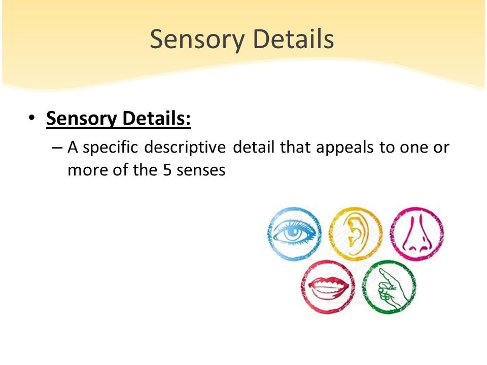 sensory detail In composition, a detail is a particular item of information that supports an idea or contributes to an overall impression in a text.