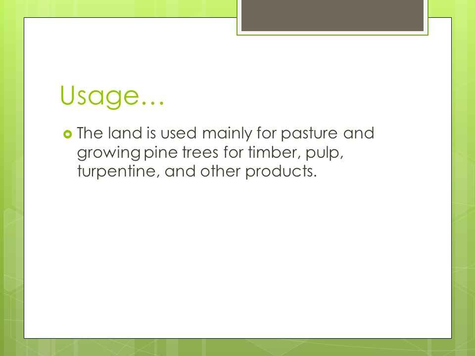Usage… The land is used mainly for pasture and growing pine trees for timber, pulp, turpentine, and other products.