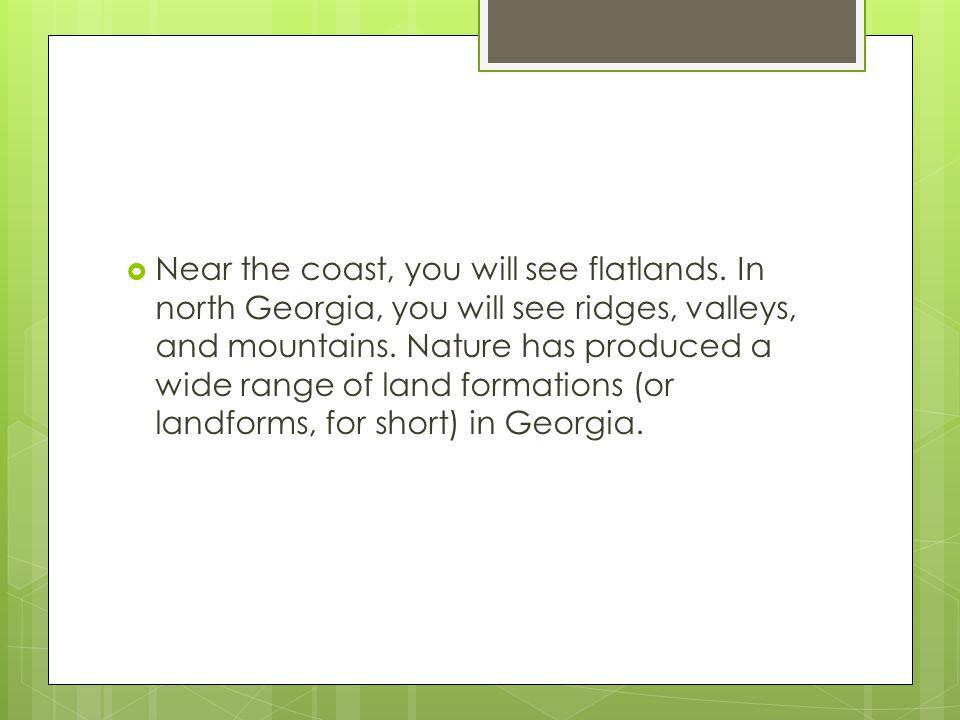 Near the coast, you will see flatlands