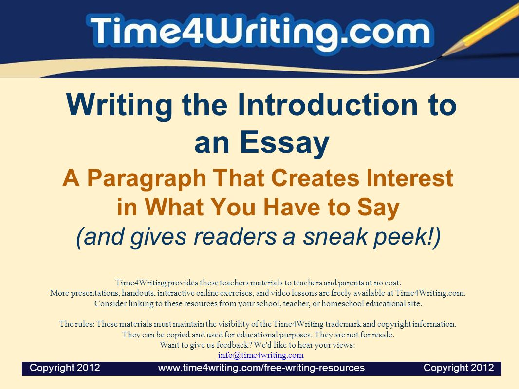 Writing An Essay Intro