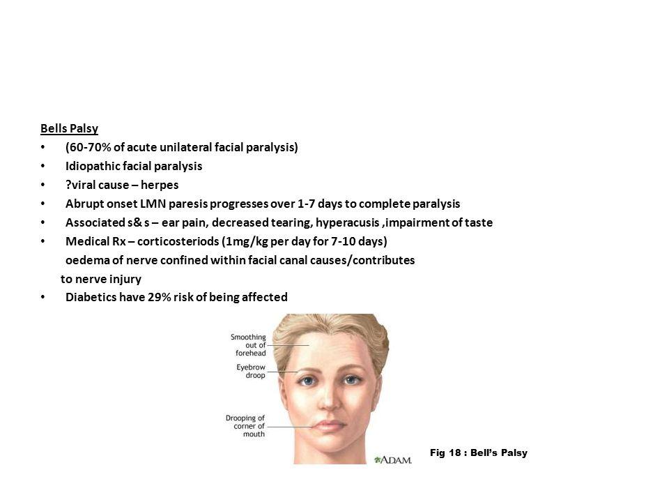 (60-70% of acute unilateral facial paralysis)