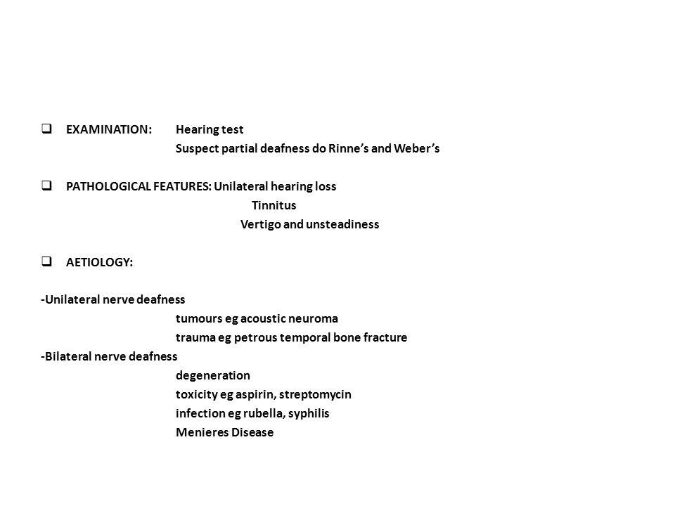 EXAMINATION: Hearing test