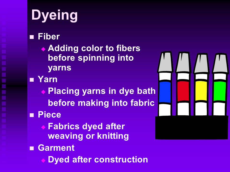 Dyeing Fiber Adding color to fibers before spinning into yarns Yarn