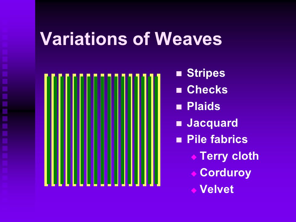 Variations of Weaves Stripes Checks Plaids Jacquard Pile fabrics