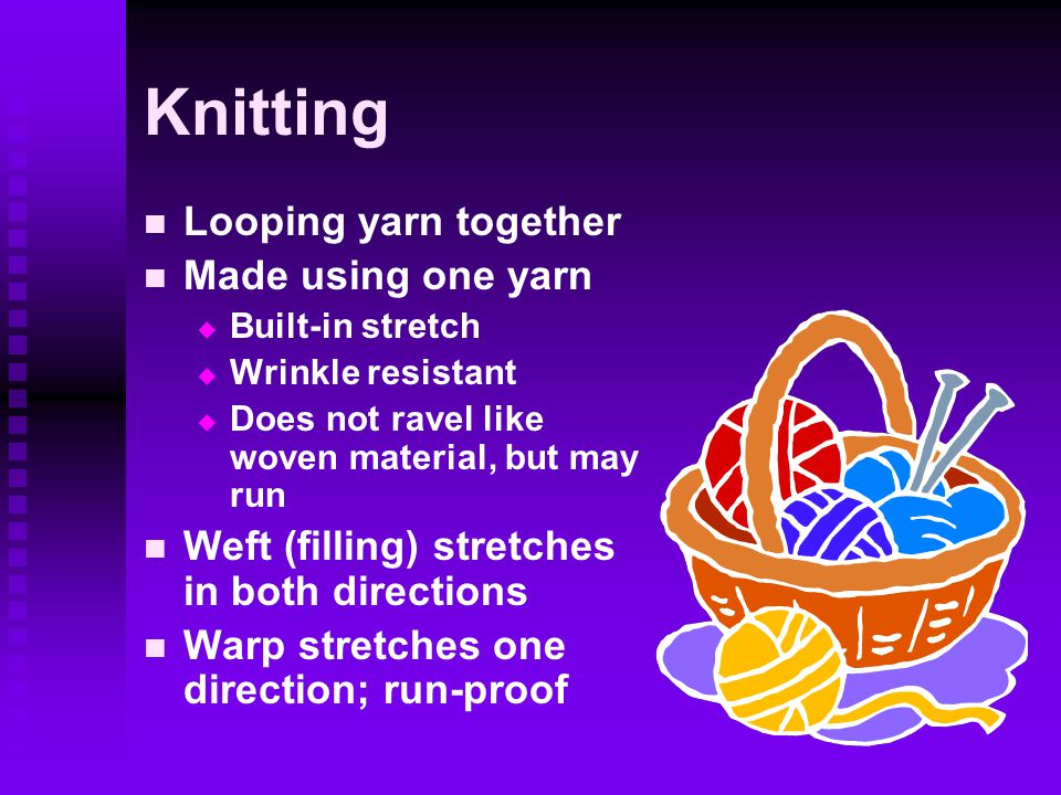 Knitting Looping yarn together Made using one yarn