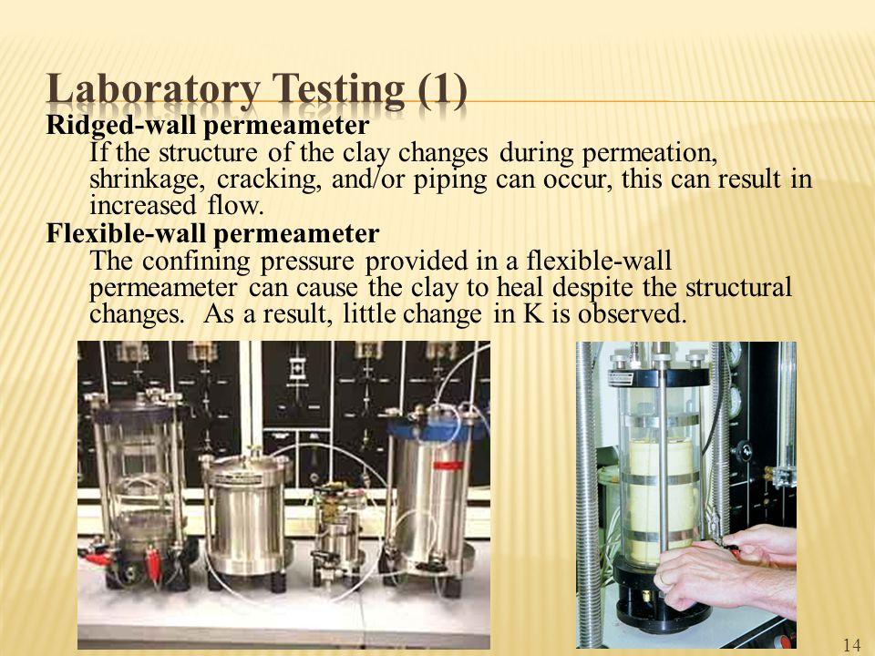 Laboratory Testing (1) Ridged-wall permeameter