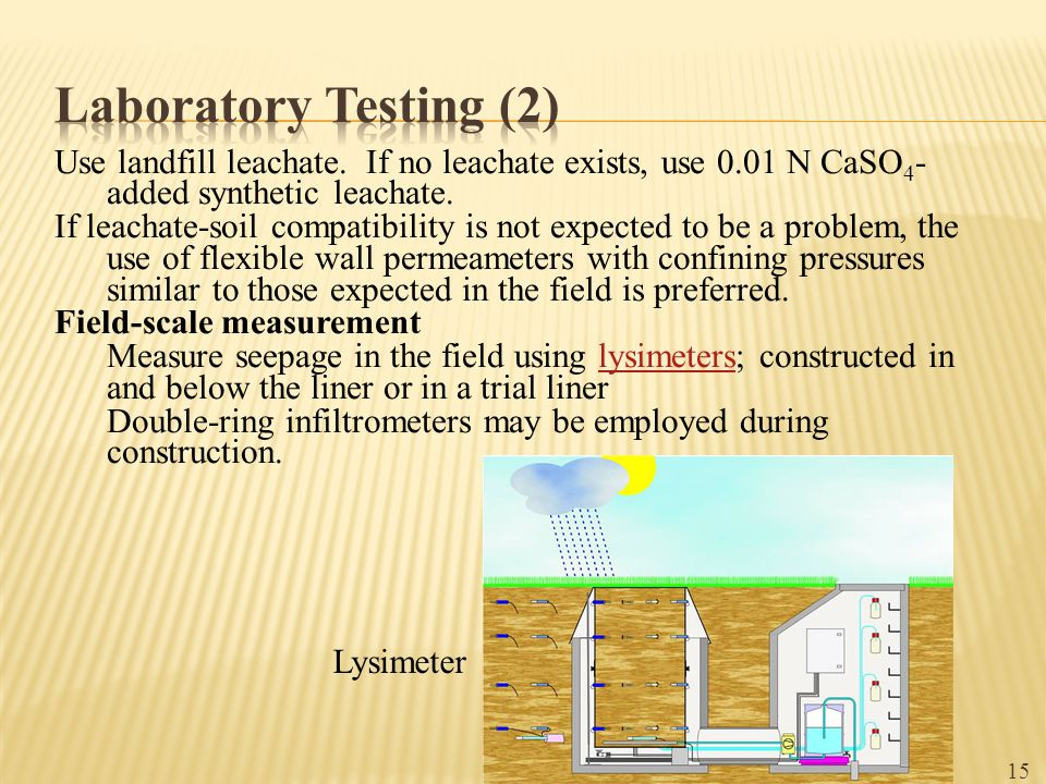 Laboratory Testing (2) Use landfill leachate. If no leachate exists, use 0.01 N CaSO4-added synthetic leachate.