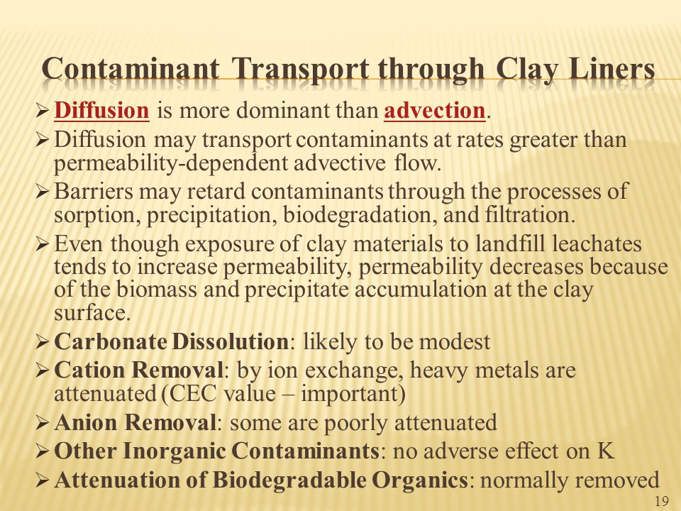 Contaminant Transport through Clay Liners