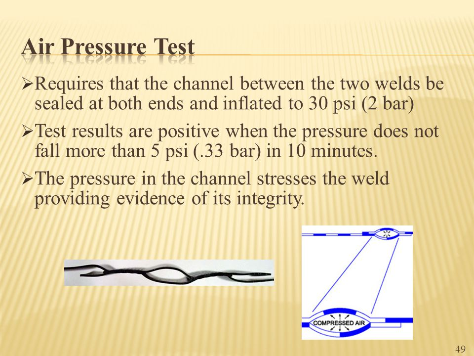 Air Pressure Test Requires that the channel between the two welds be sealed at both ends and inflated to 30 psi (2 bar)