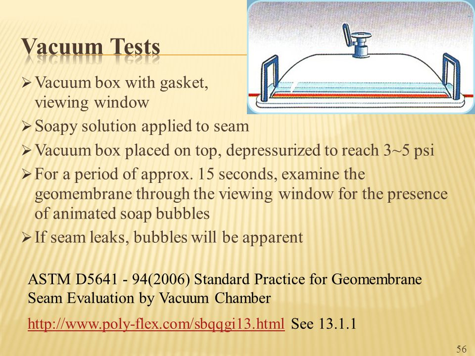Vacuum Tests Vacuum box with gasket, viewing window
