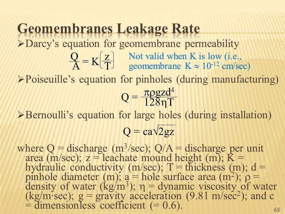 Geomembranes Leakage Rate