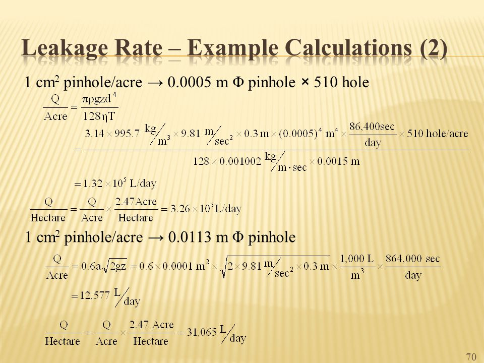 Leakage Rate – Example Calculations (2)
