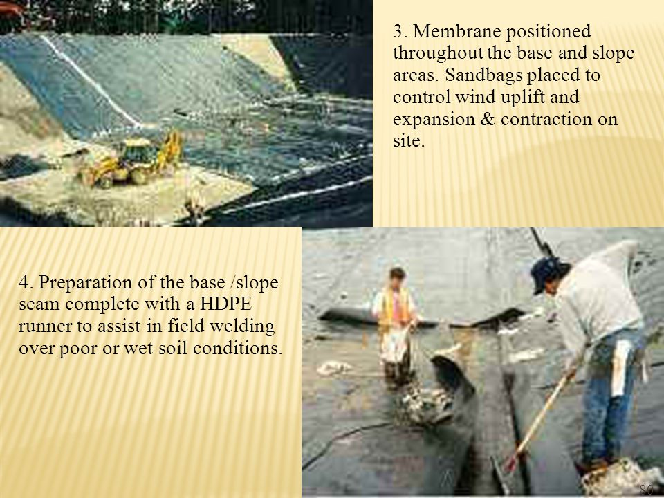 3. Membrane positioned throughout the base and slope areas