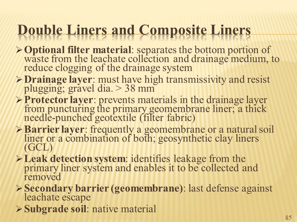 Double Liners and Composite Liners