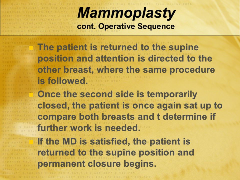 Mammoplasty cont. Operative Sequence