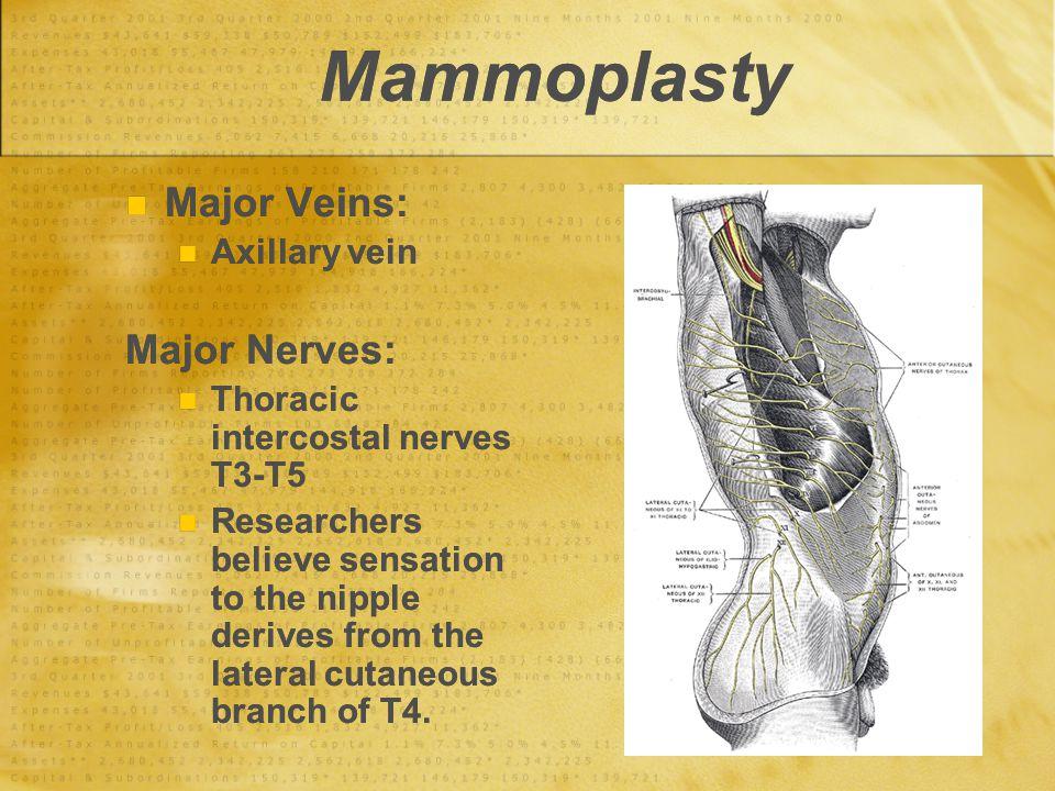 Mammoplasty Major Veins: Major Nerves: Axillary vein