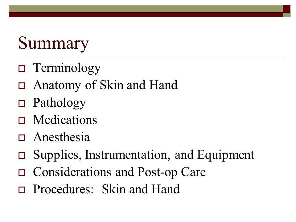 Summary Terminology Anatomy of Skin and Hand Pathology Medications