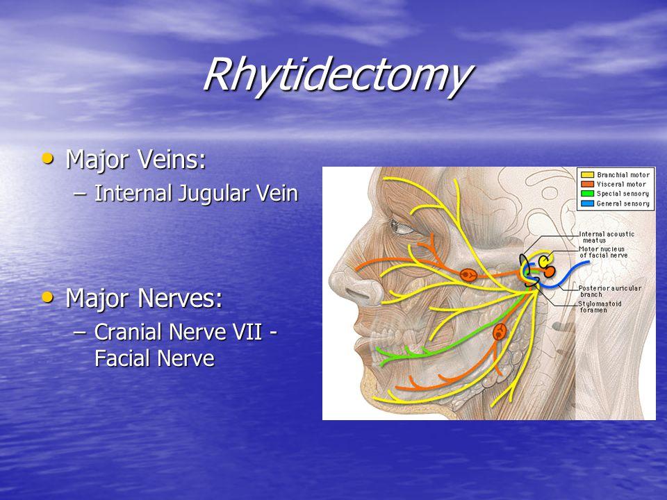 Rhytidectomy Major Veins: Major Nerves: Internal Jugular Vein
