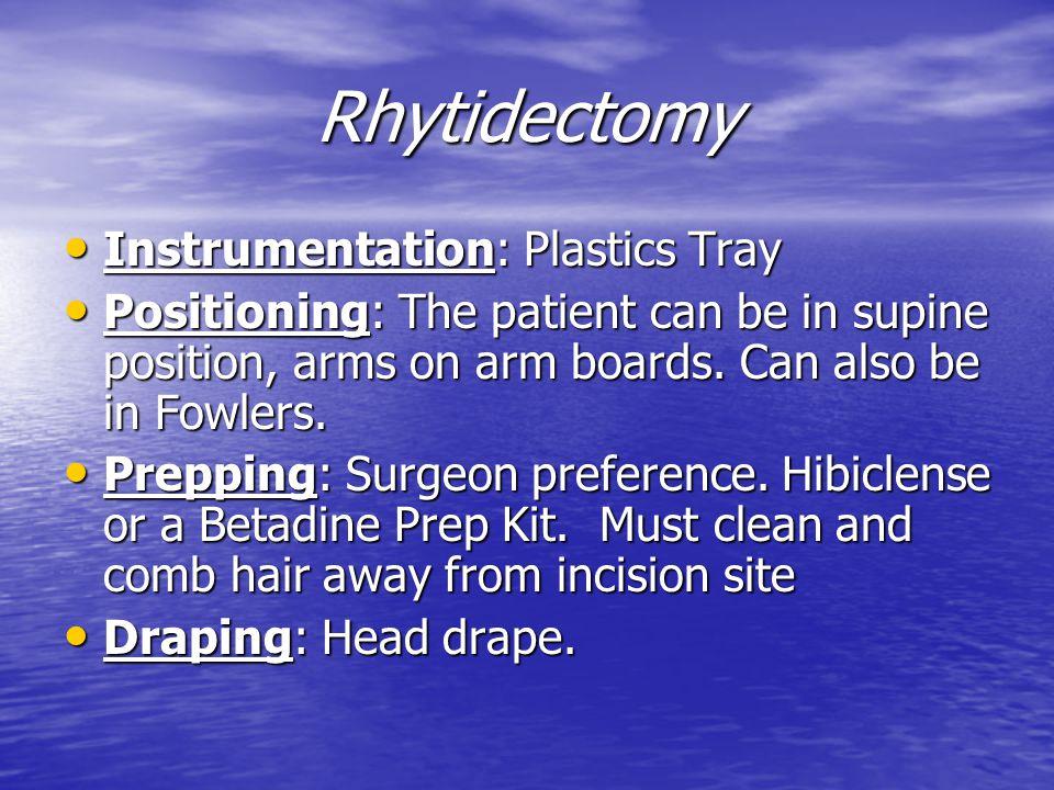 Rhytidectomy Instrumentation: Plastics Tray