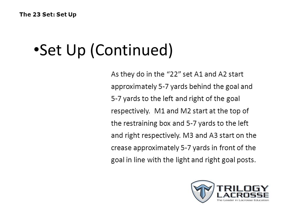 The 23 Set: Set Up Set Up (Continued)