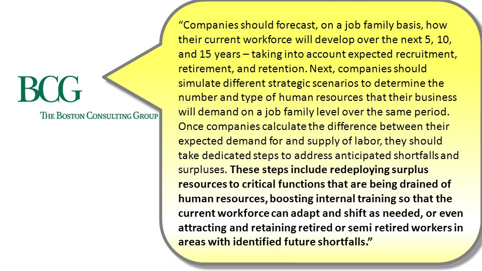 Companies should forecast, on a job family basis, how their current workforce will develop over the next 5, 10, and 15 years – taking into account expected recruitment, retirement, and retention.