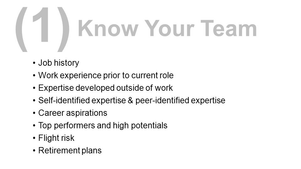 (1) Know Your Team Job history Work experience prior to current role