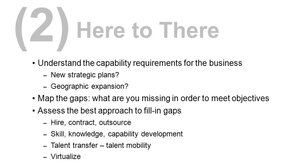 (2) Here to There. Understand the capability requirements for the business. New strategic plans Geographic expansion