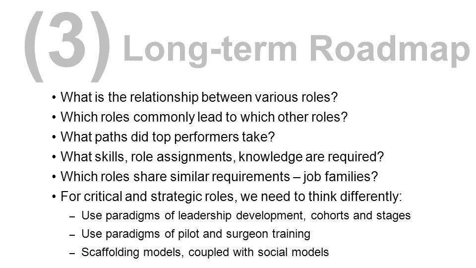 (3) Long-term Roadmap What is the relationship between various roles