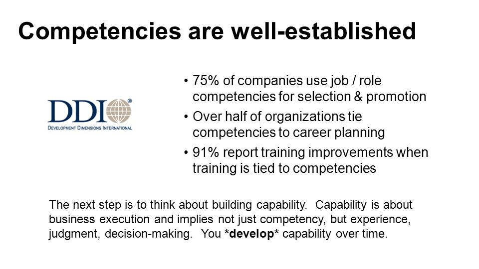 Competencies are well-established