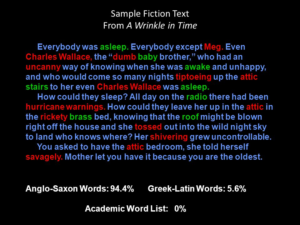 Sample Fiction Text From A Wrinkle in Time
