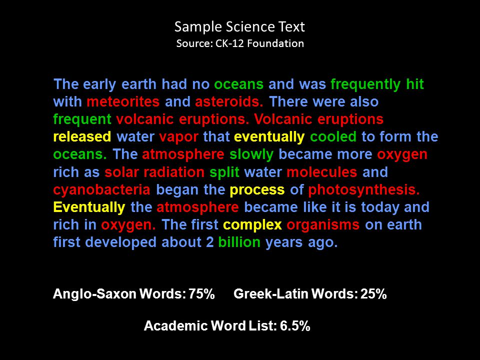 Sample Science Text Source: CK-12 Foundation