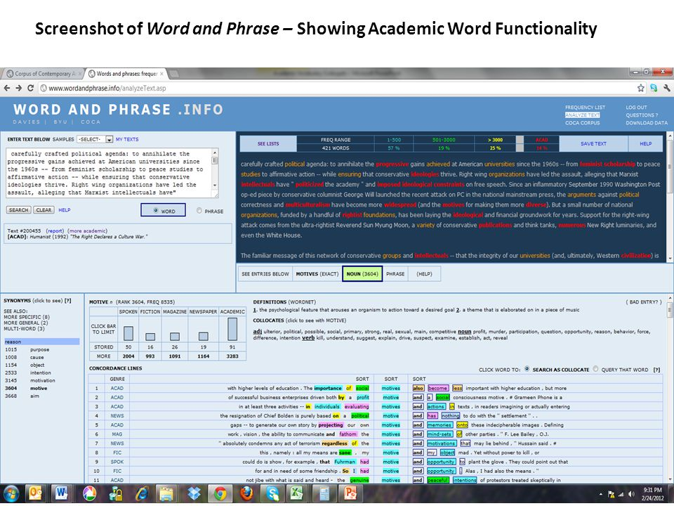 Screenshot of Word and Phrase – Showing Academic Word Functionality
