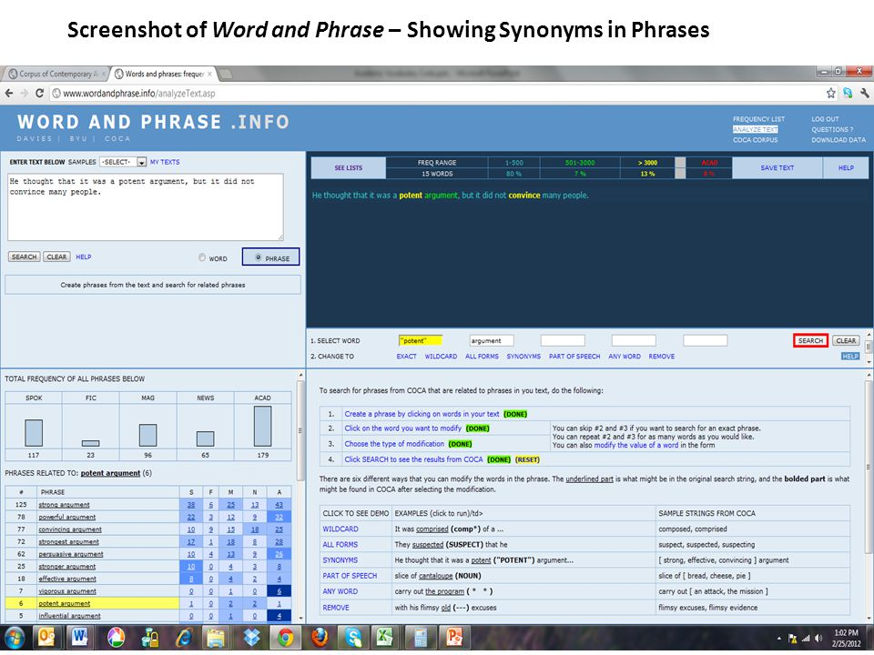 Screenshot of Word and Phrase – Showing Synonyms in Phrases