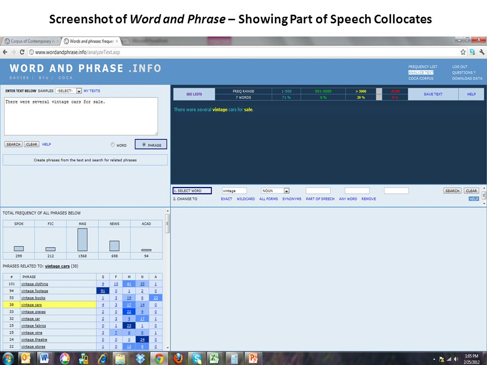 Screenshot of Word and Phrase – Showing Part of Speech Collocates