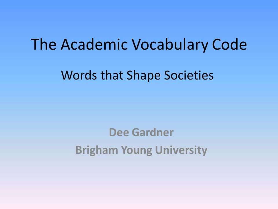 The Academic Vocabulary Code