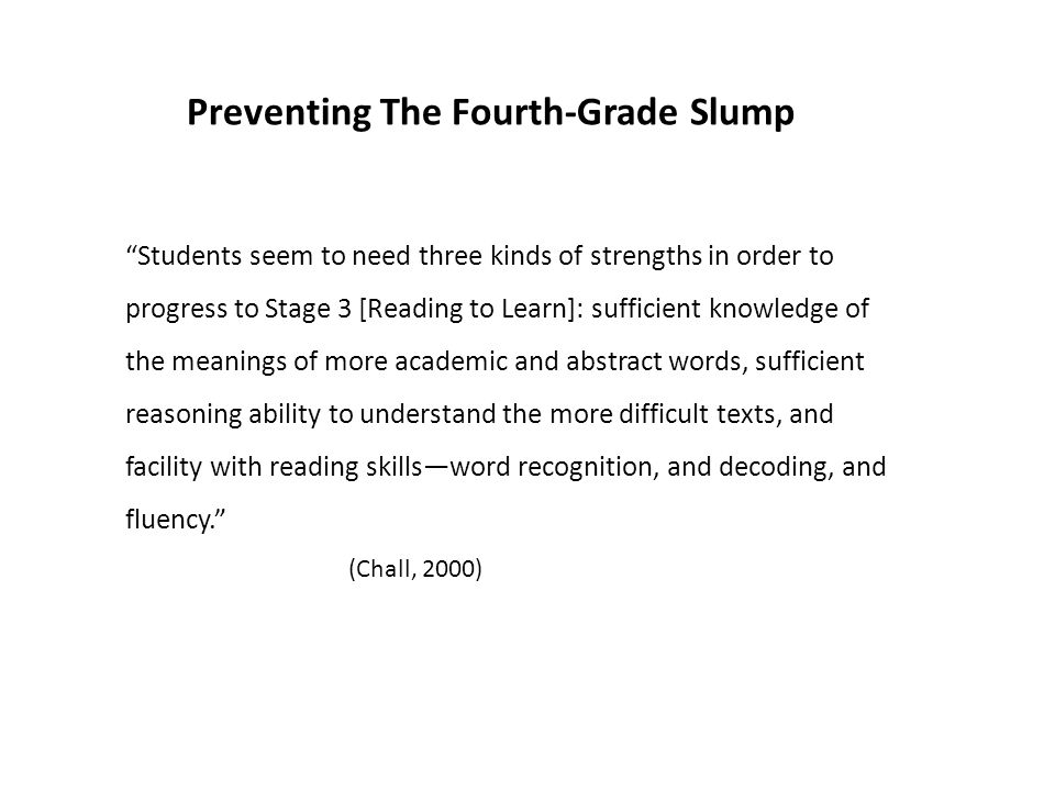 Preventing The Fourth-Grade Slump