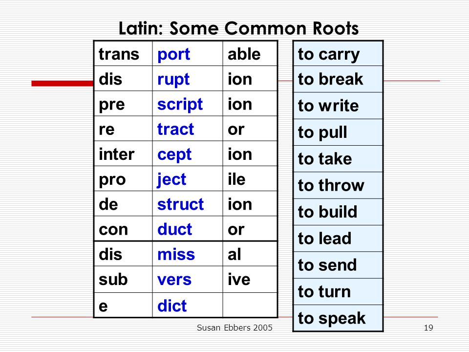 Latin: Some Common Roots
