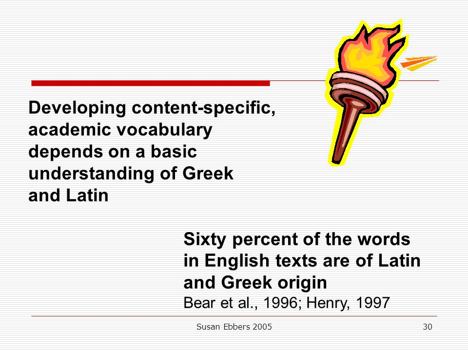 Developing content-specific, academic vocabulary depends on a basic understanding of Greek and Latin