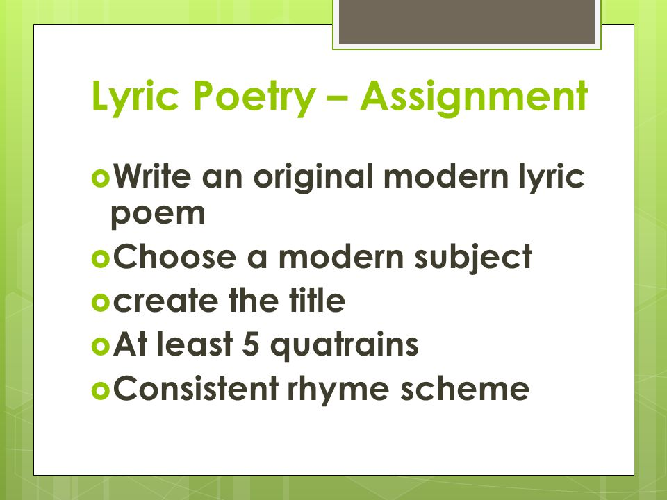 Lyric Poetry – Assignment