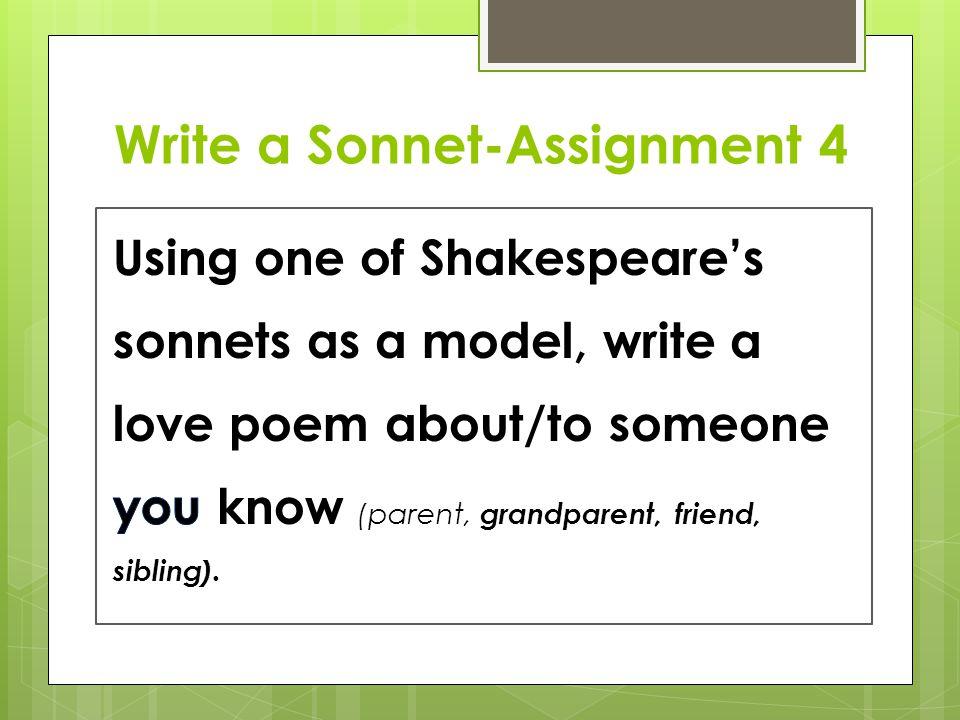 Write a Sonnet-Assignment 4
