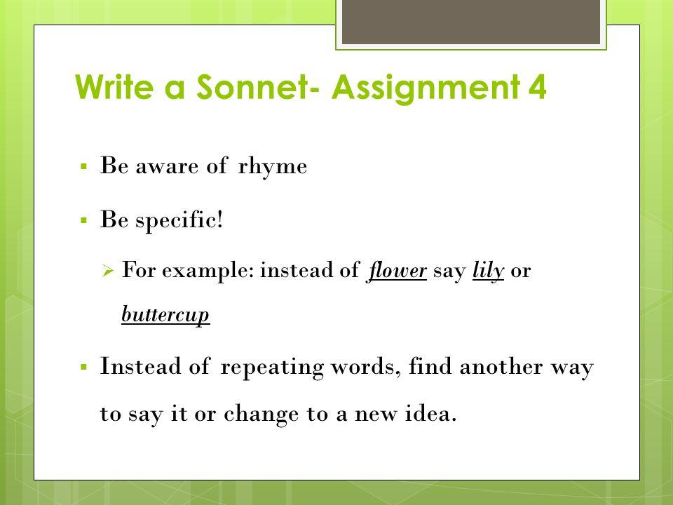 Write a Sonnet- Assignment 4