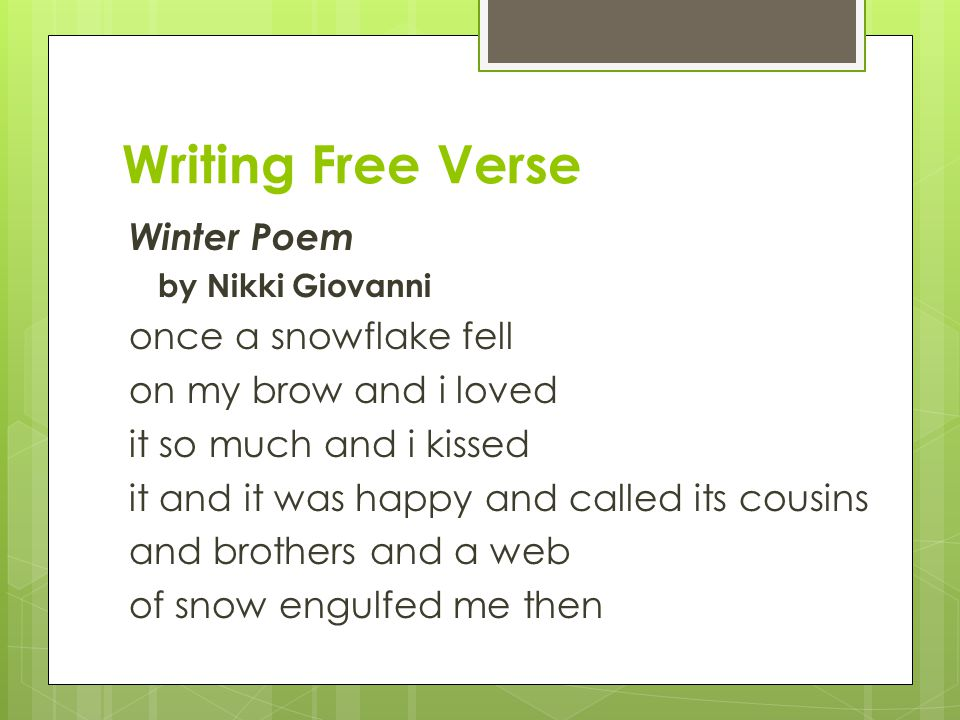 Writing Free Verse Winter Poem once a snowflake fell