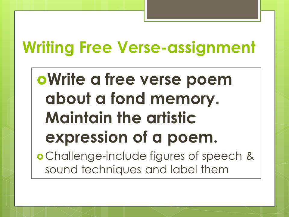Writing Free Verse-assignment