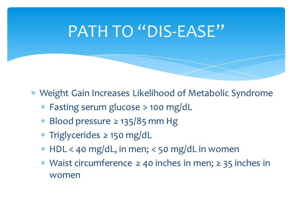 PATH TO DIS-EASE Weight Gain Increases Likelihood of Metabolic Syndrome. Fasting serum glucose > 100 mg/dL.